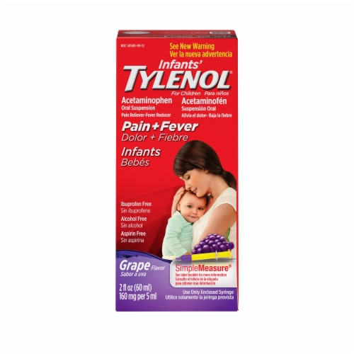 Infants' Tylenol Grape Pain + Fever Oral Suspension Perspective: front