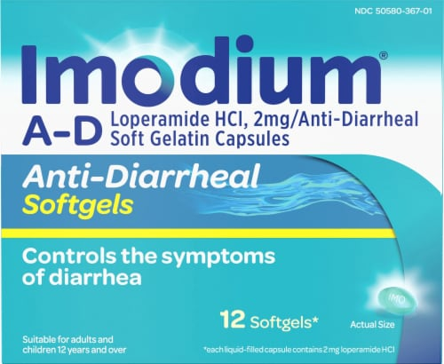 Imodium A-D 2mg/Anti-Diarrheal Softgels Perspective: front