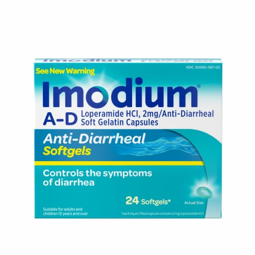 Imodium A-D Anti-Diarrheal Softgels Perspective: front