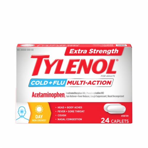 Tylenol Extra Strength Cold + Flu Daytime Acetaminophen Caplets Perspective: front