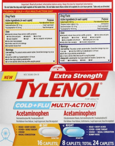 Tylenol Extra Strength Cold + Flu Daytime/Nighttime Acetaminophen Caplets Perspective: front