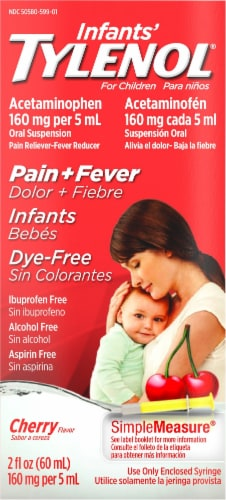 Tylenol Infants' Cherry Flavor Pain + Fever Oral Suspension 160mg Perspective: front