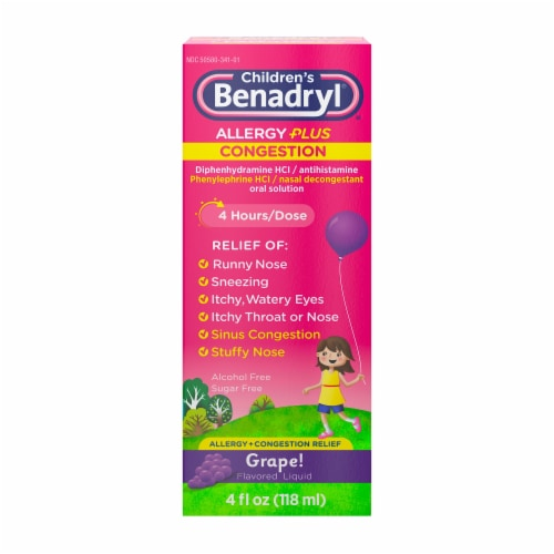 Children's Benadryl Allergy Plus Congestion Relief Grape Flavored Liquid Medicine Perspective: front