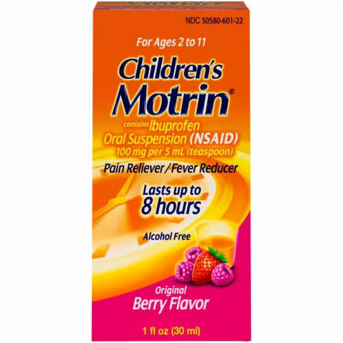 Motrin Children's Original Berry Flavor Pain Reliever & Fever Reducer Perspective: front
