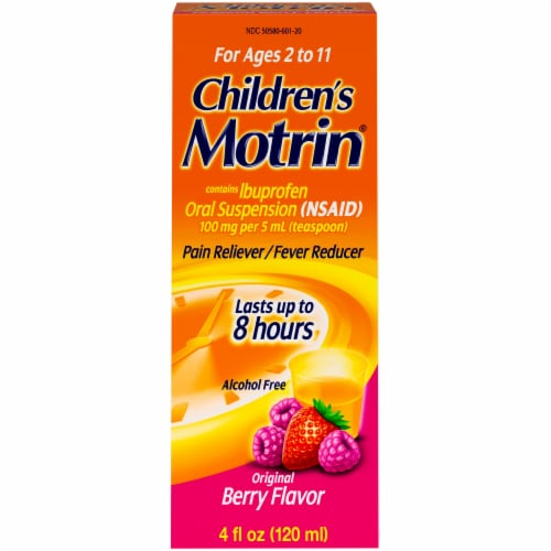 Children's Motrin Original Berry Flavor Oral Suspension Pain Reliever Fever Reducer Perspective: front