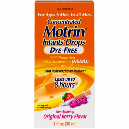 Motrin Infants' Drops Dye-Free Original Berry Ibuprofen Oral Suspension Perspective: front
