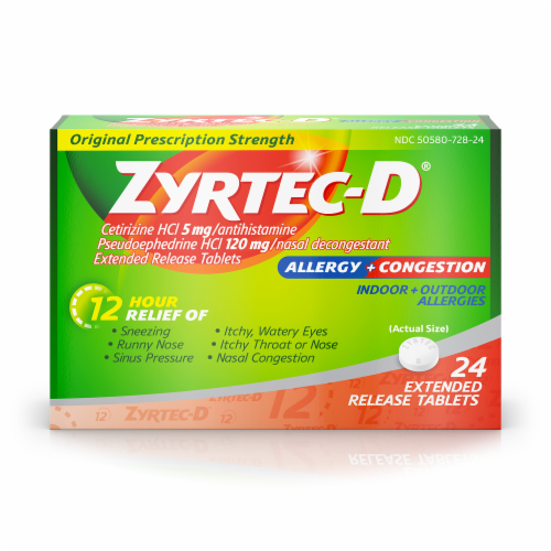 Zyrtec-D 12-Hour Allergy & Congestion Relief Tablets Perspective: front