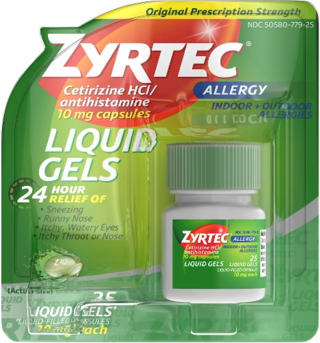 Zyrtec 24-Hour Original Prescription Strength Allergy Relief Liquid Gels 10mg Perspective: front