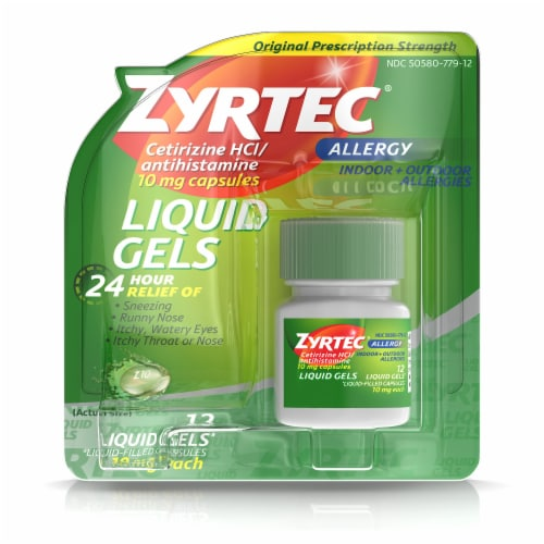 Zyrtec 24-Hour Allergy Cetirizine Antihistamine Liquid Gels 10mg 12 Count Perspective: front