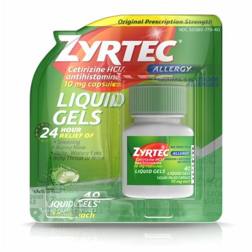 Zyrtec 24-Hour Allergy Relief Liquid Gels 10mg Perspective: front
