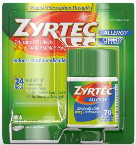 Zyrtec 24-Hour Original Prescription Strength Indoor & Outdoor Allergy Relief Tablets 10mg Perspective: front