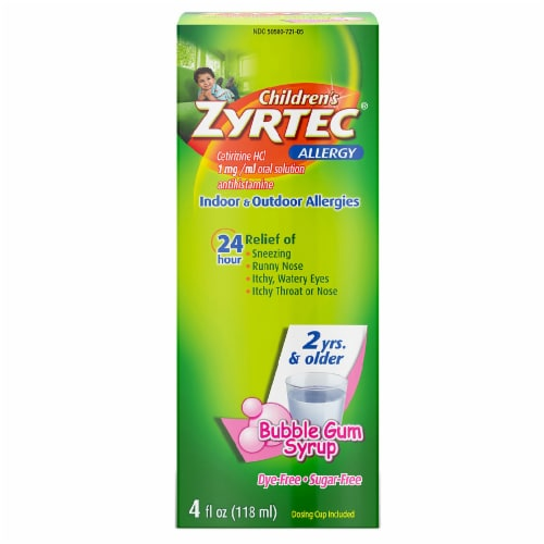 Children's Zyrtec Bubble Gum Flavor Allergy Syrup Perspective: front