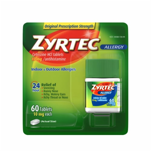 Zyrtec Indoor & Outdoor Allergy Relief Tablets 10mg Perspective: front