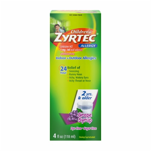 Zyrtec Children's Allergy Dye-Free Sugar-Free Grape Syrup Perspective: front