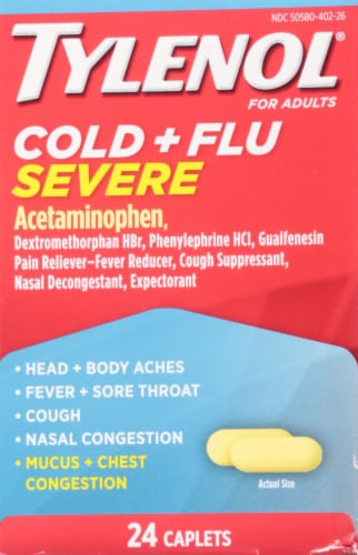 Tylenol Cold & Flu Severe Caplets Perspective: front