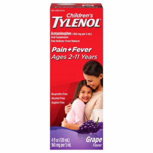 Tylenol Children's Grape Flavor Pain & Fever Liquid 160mg Perspective: front