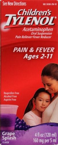 Children's Tylenol Pain & Fever Acetaminophen 160mg Grape Splash Oral Suspension Perspective: front