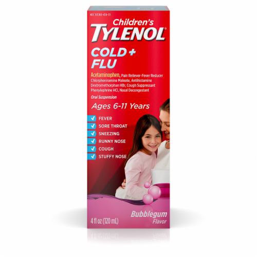 Children's Tylenol Cold & Flu Relief Bubblegum Flavored Oral Suspension Perspective: front