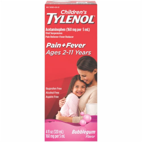 Children's Tylenol Pain + Fever Bubblegum Flavor Oral Suspension Perspective: front