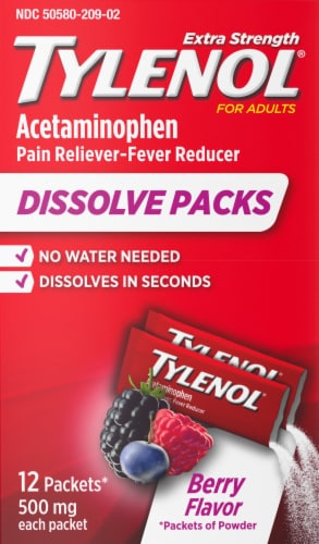 Tylenol Pain Reliever & Fever Reducer Berry Flavor Dissolve Packets Perspective: front