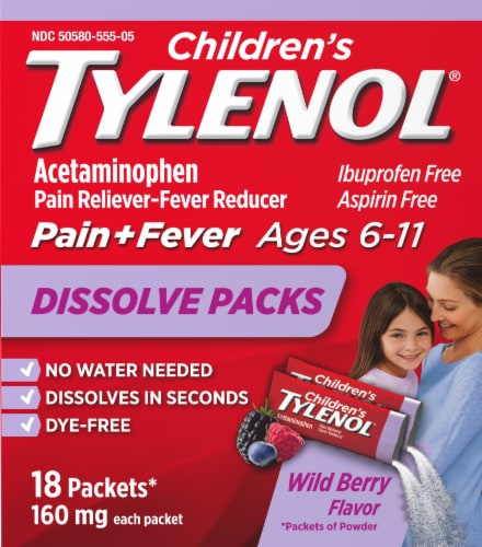 Tylenol Children's Wild Berry Pain + Fever Relief Powder Packets 160mg Perspective: front