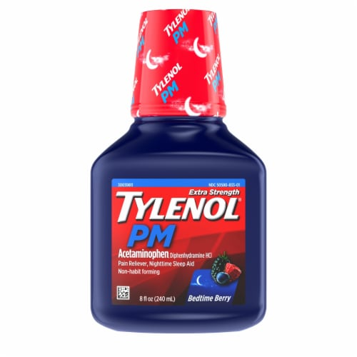 Tylenol PM Bedtime Berry Extra Strength Acetaminophen Liquid Perspective: front