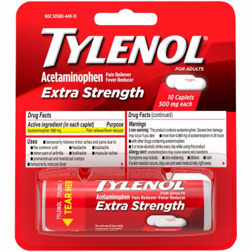 Tylenol Extra Strength Pain Reliever & Fever Reducer Caplets 500mg Perspective: front