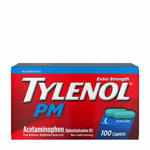 Tylenol PM Extra Strength Pain Reliever & Sleep Aid Caplets Perspective: front