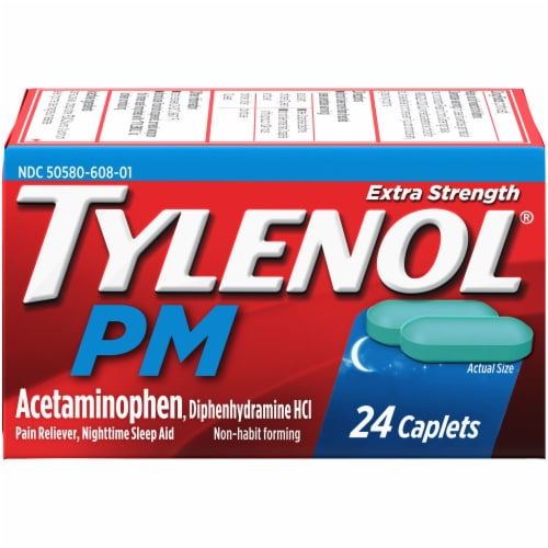 Tylenol PM Extra Strength Caplets Perspective: front