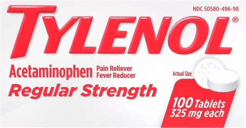 Tylenol Regular Strength Pain Reliever & Fever Reducer Tablets 325mg Perspective: front