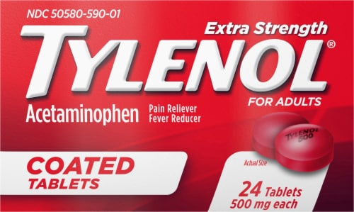 Tylenol Acetaminophen Adult Pain Relief & Fever Reducer Extra Strength Coated Tablets 500mg Perspective: front