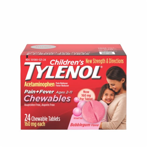 Tylenol Children's Pain + Fever Bubblegum Flavor 160 mg Chewable Tablets Perspective: front