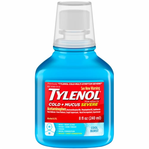 Tylenol For Adults Cold + Mucus Severe Cool Burst Liquid Perspective: front