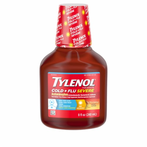 Tylenol For Adults Daytime Severe Cold + Flu Warming Honey Lemon Liquid Perspective: front