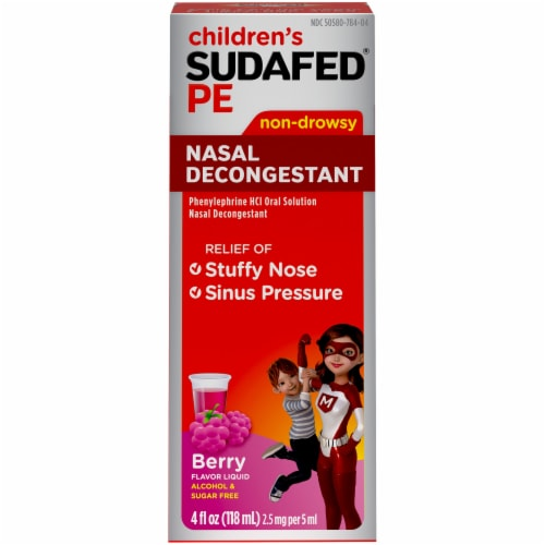 Sudafed PE Children's Berry Flavor Non-Drowsy Nasal Decongestant Liquid 2.5mg Perspective: front