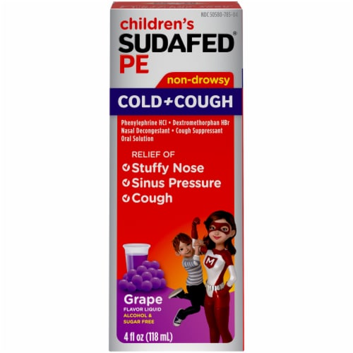 Sudafed Children's PE Grape Flavor Non-Drowsy Cold & Cough Liquid Perspective: front