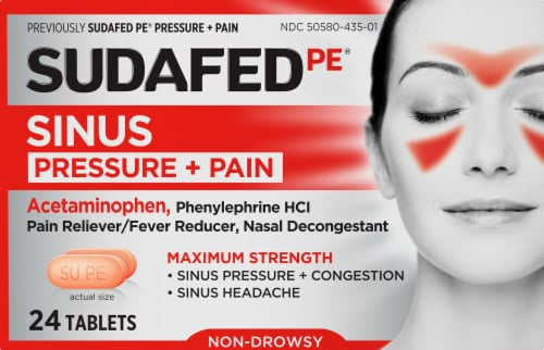 Sudafed PE Pressure and Pain Relief Caplets Perspective: front
