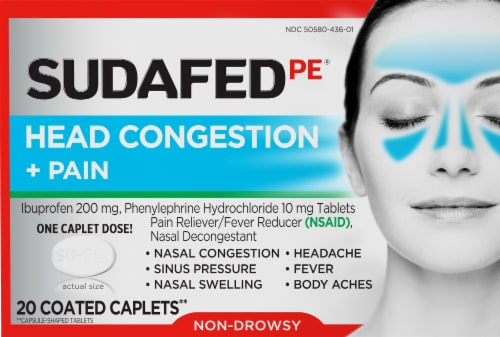 Sudafed PE Non-Drowsy Head Congestion + Pain Relief Caplets Perspective: front
