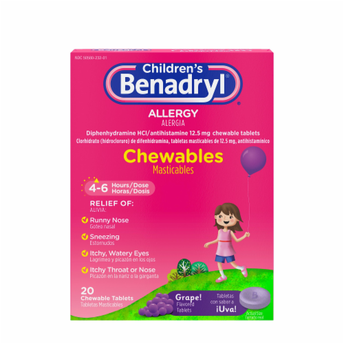 Children's Benadryl Allergy Grape Flavored Chewable Tablets Perspective: front