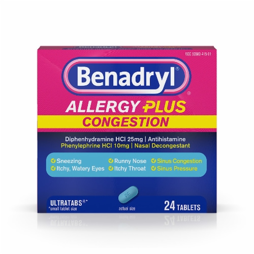 Benadryl Allergy Plus Congestion Ultratabs Tablets Perspective: front