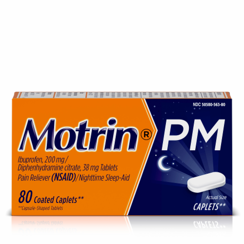 Motrin PM Pain Reliever & Nighttime Sleep-Aid Coated Caplets 200mg Perspective: front