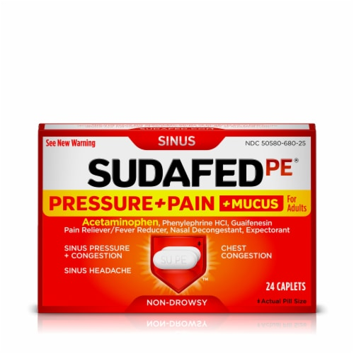 Sudafed PE For Adults Pressure + Pain + Mucus Congestion Relief Caplets Perspective: front