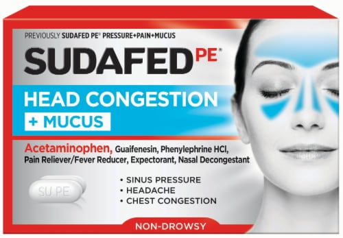 Sudafed PE Non-Drowsy Head Congestion + Mucus Tablets Perspective: front
