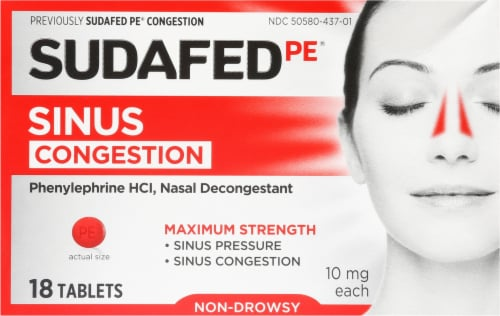 Sudafed PE Maximum Strength Sinus Congestion Tablets 10mg Perspective: front