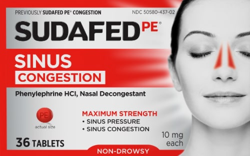 Sudafed PE Non-Drowsy Maximum Strength Congestion Tablets 10mg Perspective: front