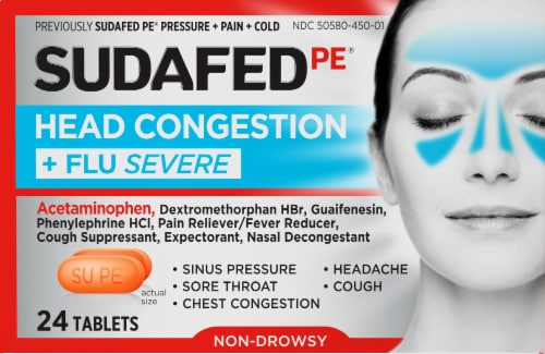 Sudafed PE Head Congestion & Flu Severe Tablets Perspective: front