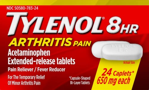 Tylenol 8-Hour Arthritis Pain Extended Release Caplets 650 mg Perspective: front