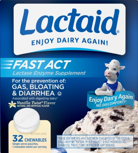 Lactaid Fast Act Vanilla Chewables Perspective: front