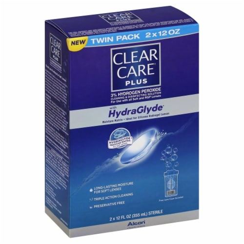 Clear Care Plus with HydraGlyde Contact Lens Solution Perspective: front