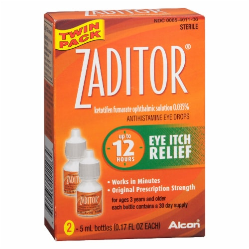 Alcon Zaditor Eye Itch Relief Drops 2 Count Perspective: front